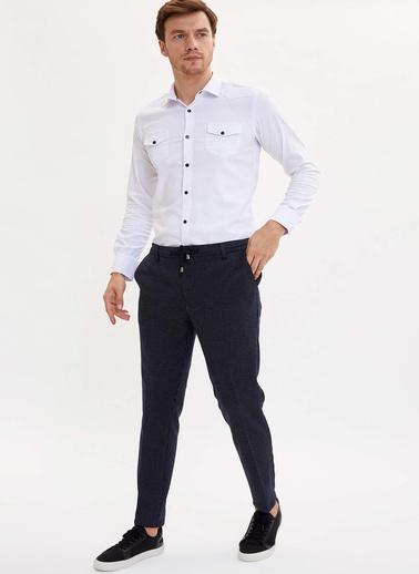 DeFacto Çift Cepli Slim Fit Gömlek Beyaz